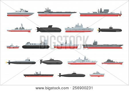 Different Types Of Naval Combat Ships Set, Military Boats, Ships, Frigates, Submarine Vector Illustr