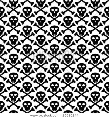 Vector seamless texture, skull in black
