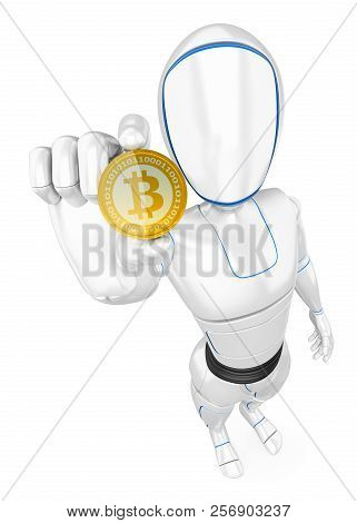 3d Futuristic Android Illustration. Humanoid Robot Mining A Cryptocurrency Bitcoin. Isolated White B