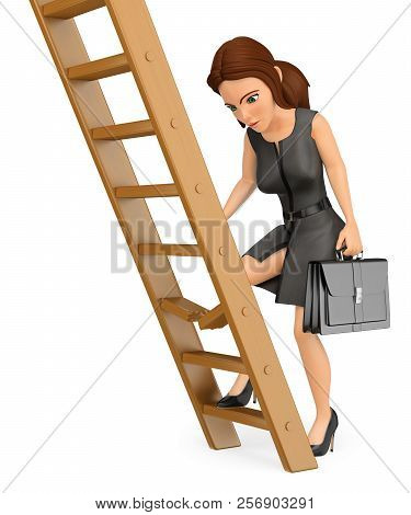 3d Business People Illustration. Businesswoman Climbing Up A Broken Ladder. Isolated White Backgroun
