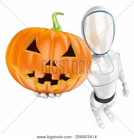 3d Futuristic Android Illustration. Humanoid Robot With A Big Pumpkin. Halloween. Isolated White Bac
