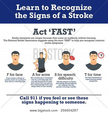 Signs Of A Stroke Vector Infographic. Stroke Symptoms. Infographic Elements.