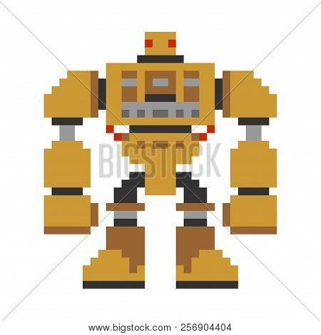 Robot Pixel Art. 8 Bit Cyborg Warrior Future. Vector Illustration