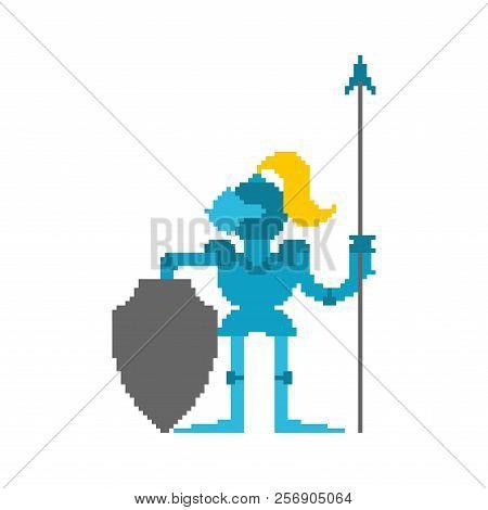 Knight Pixel Art. Armor Warrior 8 Bit. Vector Illustration