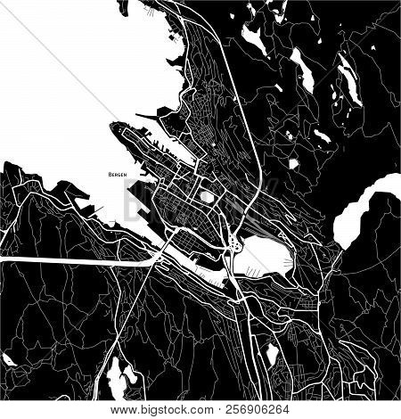 Area Map Of Bergen, Norway. Dark Background Version For Infographic And Marketing Projects.