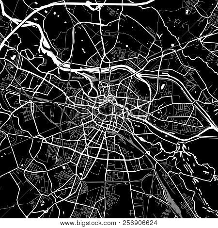 Area Map Of Wrocław, Poland. Dark Background Version For Infographic And Marketing Projects.