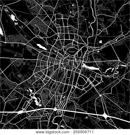 Area Map Of Poznań, Poland. Dark Background Version For Infographic And Marketing Projects. This Map
