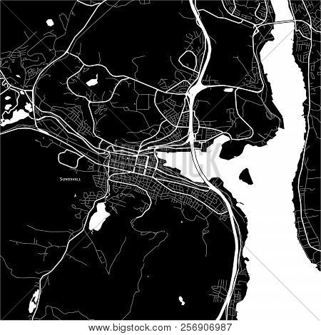 Area Map Of Sundsvall, Sweden. Dark Background Version For Infographic And Marketing Projects.