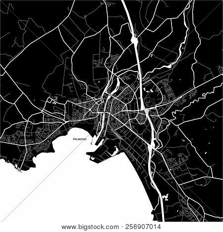 Area Map Of Halmstad, Sweden. Dark Background Version For Infographic And Marketing Projects.
