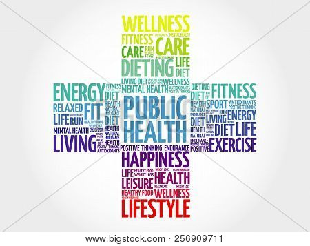 Public Health Word Cloud, Health Cross Concept Background