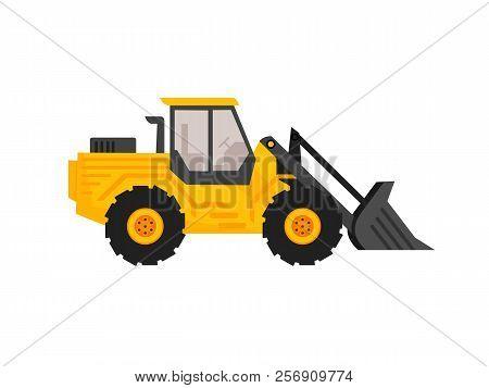 End Loader Vehicle Flat Cartoon Style. Bulldozer Quarry Machine. Stone Wheel Yellow Digger. Backhoe