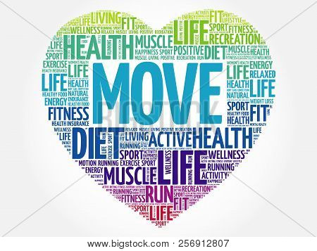 Move Heart Word Cloud, Fitness, Sport, Health Concept