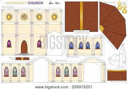 Church Building Paper Craft Model. Cut-out Sheet For Making A Detailed 3d Scale Model Church With St