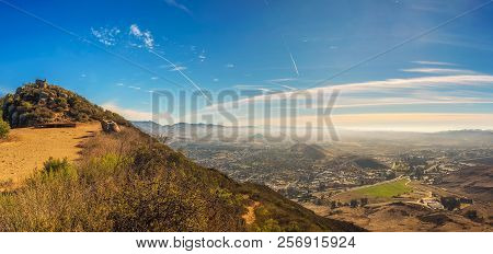 Aerial View Of San Luis Obispo In California From The Hiking Trail To Cerro Peak. Cerro Is Part Of T