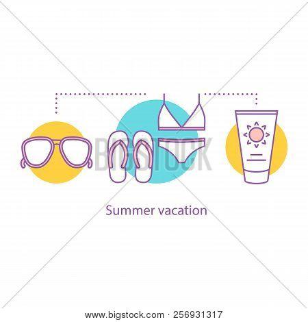 Summer Rest Concept Icon. Vacation Idea Thin Line Illustration. Suntan Cream, Sunglasses, Swimsuit A