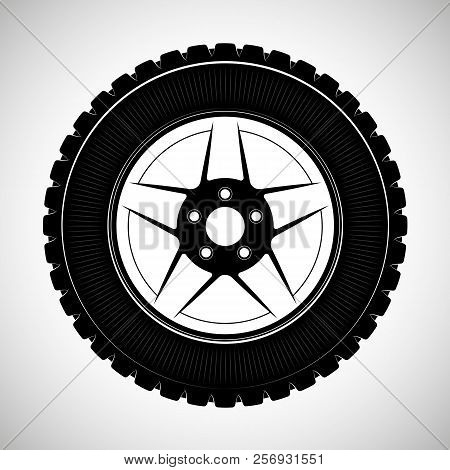 Wheels And Tires Are Black. For A Logo Or Emblem Of A Tire Store Or Car Workshop. For Tire Fitting.