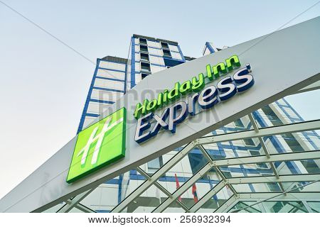 MOSCOW, RUSSIA - CIRCA AUGUST, 2018: Holiday Inn Express hotel in Moscow. Holiday Inn Express is a mid-priced hotel chain within the InterContinental Hotels Group family of brands.