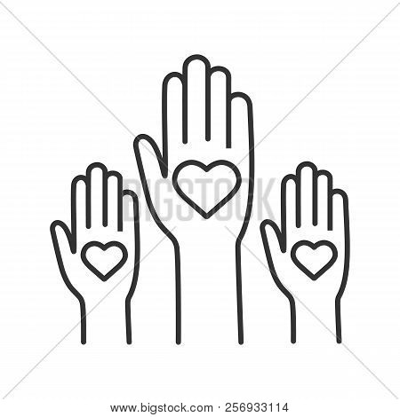 Unity In Diversity Linear Icon. No To Racism. Volunteers. Thin Line Illustration. Helping Hands. Vot