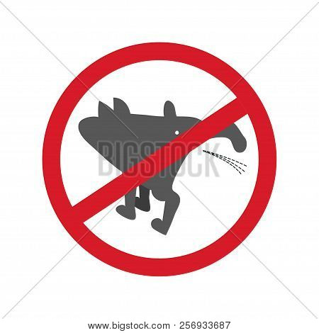 No Pissing Dog Sign Isolated On White Background. Vector Illustration.
