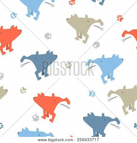 Seamless Cute Pissing Dogs Pattern. Vector Background.