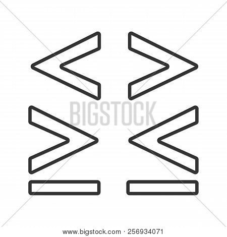 Math Symbols Linear Icon. Thin Line Illustration. Is Less, Greater Or Equal Than Signs. Contour Symb