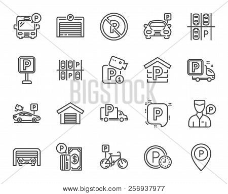 Parking line icons. Set of Garage, Valet servant and Paid parking linear icons. Video monitoring, Bike or Car park and Truck or Bus stopping symbols. Money, Map pointer and Free park place. Vector poster