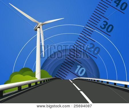 Vector illustration of a power generating wind turbine 3