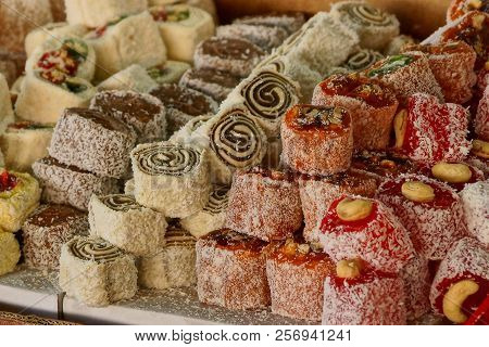 A Bunch Of Oriental Sweets Rahat Loachum On A Table