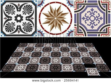 Vector ceramic tiles with seamless pattern 6.