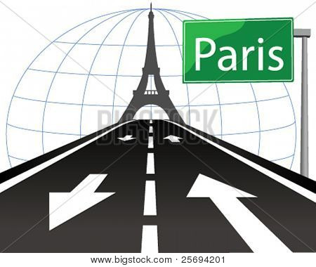 Vector illustration-The road to Paris