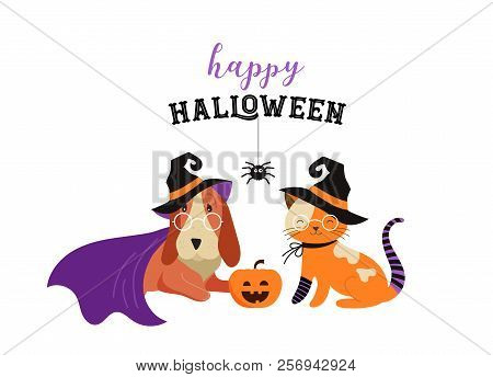 Happy Halloween - Cats And Dogs In Monsters Costumes, Halloween Party. Vector Illustration, Banner,