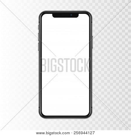 New York, Usa - August 22, 2018: Realistic New Black Phone. Frameless Full Screen Mockup Mock-up Sma