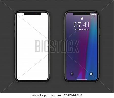 New York, Usa - August 22, 2018: Realistic New Set Phone. Frameless Full With Blank Screen Mockup Mo