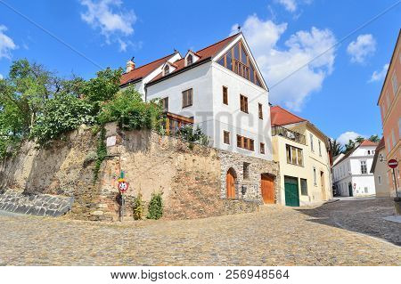 Krems, Austria. Beautiful Cozy Street Of The Old Town In A Sunny Summer Day