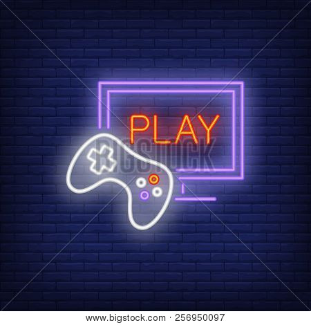 Online videogame neon icon. Monitor with play lettering and joystick on brick wall background. Gaming industry concept. Vector illustration can be used for neon signs, billboards, nightlife. poster