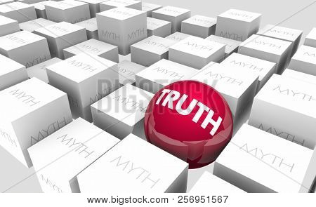 Truth Vs Myths Facts or Fiction True False Sphere in Cubes 3d Illustration