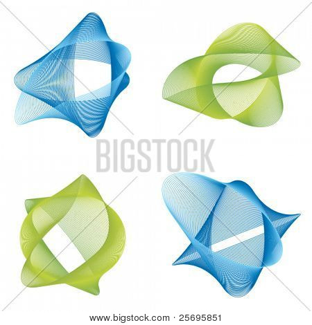 four abstract logo elements