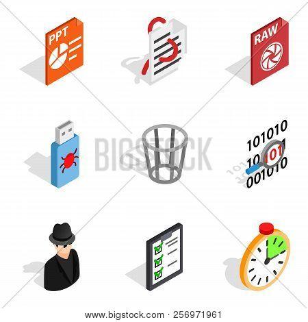 Ip Address Icons Set. Isometric Set Of 9 Ip Address Icons For Web Isolated On White Background