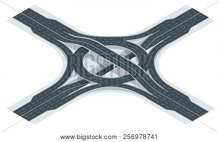 Isometric Highway Junction Road And Interchange Overpass. Vector Illustration