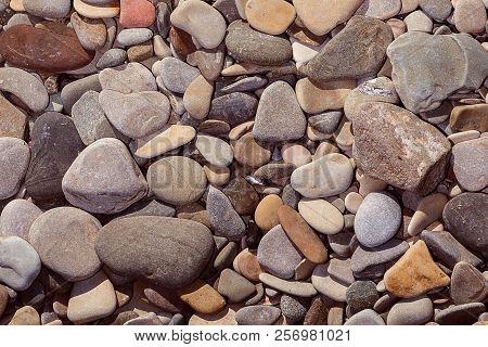 Abstract Round Peeble Stones Background Close Up