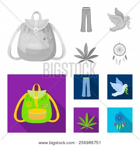 A Cannabis Leaf, A Dove, Jeans, A Backpack.hippy Set Collection Icons In Monochrome, Flat Style Vect