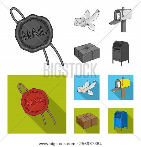 Wax Seal, Postal Pigeon With Envelope, Mail Box And Parcel.mail And Postman Set Collection Icons In
