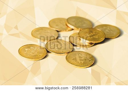 Stack Of Bitcoin Cryptocurrency Technology Blockchain Coins