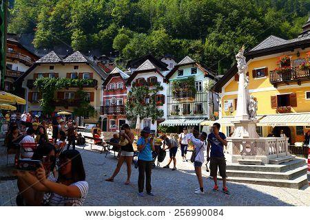 06. 08.2018 : Hallstatt, Austria - Small Mountain Village,  Salzkammergut Cultural Landscape, One Of