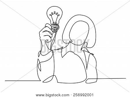 One Line Continuous Painted Woman With A Light Bulb, A Man With A Light Bulb, A Doctor With A Lightb