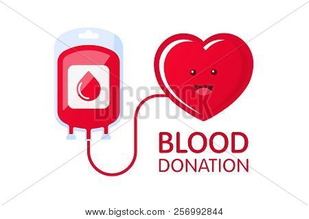 Donate Blood Concept With Blood Bag And Heart Character. Blood Donation Vector Illustration. World B