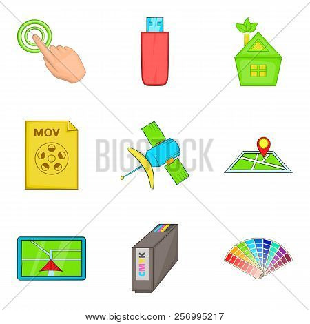 Interactive Icons Set. Cartoon Set Of 9 Interactive Icons For Web Isolated On White Background