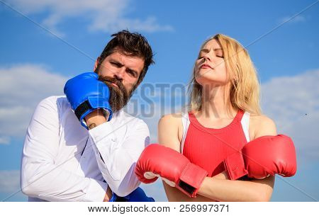Stand For Your Point View. Couple In Love Boxing Gloves Sky Background. Man And Girl After Fight. Fa