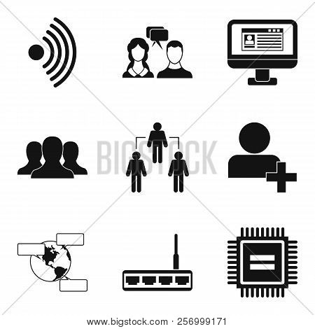 Wireless App Icons Set. Simple Set Of 9 Wireless App Icons For Web Isolated On White Background