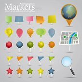 Markers, globe, map and magnifying glass. Icon set. poster